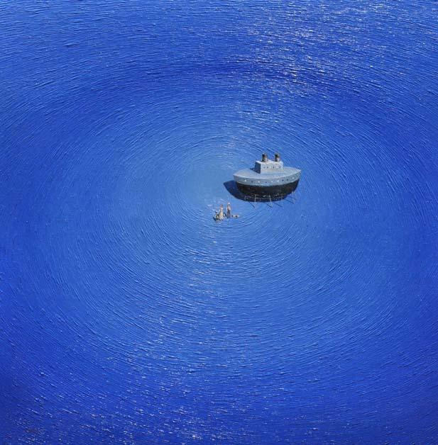Inmigrantes - Pintura en óleo de Mario Pérez