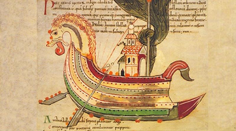 """""""Barco-dragon"""", un drakkar vikingo, de acuerdo al manuscrito Northumbrian (siglo X). Fuente: Vicente Pistilli"""