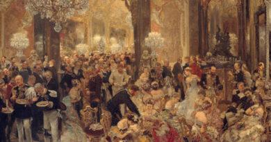 La cena en el baile, de Adolph Menzel, 1878. Nationalgalerie, Staatliche Museen zu Berlin