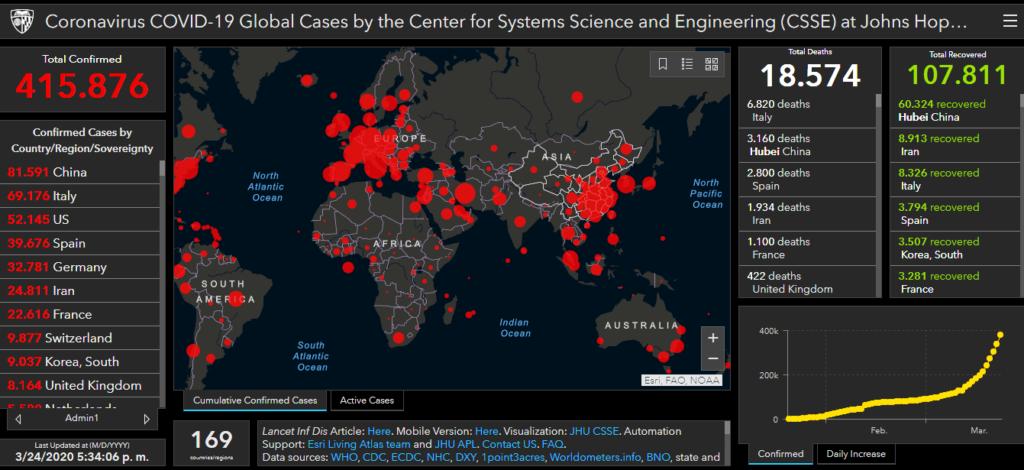 Imagen del mapa interactivo de la evolución del Coronavirus en el mundo, elaborado por la Johns Hopkins University, de EE.UU.