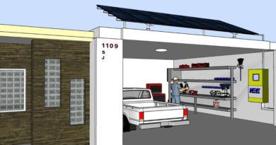 Imagen de empresa con energía fotovoltaica y almacenador, diseñada para Revista La U por Marcelo Molina, director del IEE